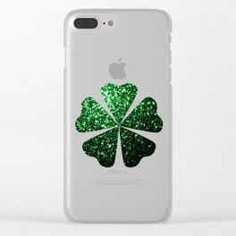 Glamour Dark Green glitter sparkles Clear iPhone Case