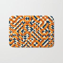 Orange Navy Color Overlay Irregular Geometric Blocks Square Quilt Pattern Bath Mat