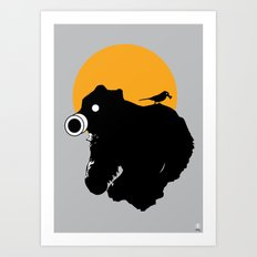 The Bear and Bird in a gas mask Art Print