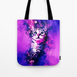 pianca baby cat kitten splatter watercolor purple pink Tote Bag