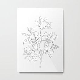 Minimal Line Art Magnolia Flowers Metal Print