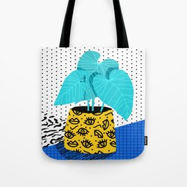 Totes magoats - memphis throwback retro house plant squiggle dot polka dot neon 1980s 80s style art Tote Bag