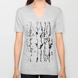 poured paint blots black and white Unisex V-Neck