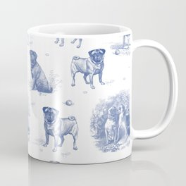 Classic Blue PUG DOGS Coffee Mug