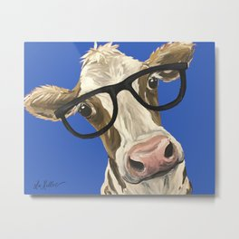 Cute Cow With Glasses, Blue Glasses Cow Metal Print
