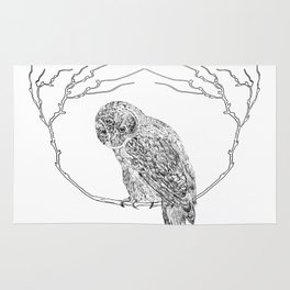 Owl In Tree (Print) Rug