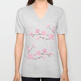 Cherry Blossom - Transparent Background Unisex V-Neck