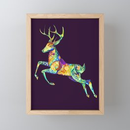 Jumping Deer Framed Mini Art Print