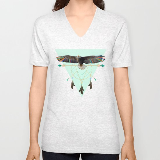 The indian eagle is watching over Po's dreamcatcher Unisex V-Neck