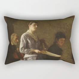 Singing a Pathetic Song Oil Painting by Thomas Eakins Rectangular Pillow