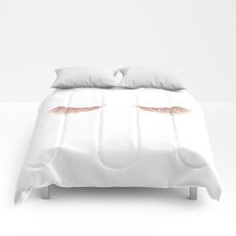 Pretty Lashes Rose Gold Glitter Pink Comforters