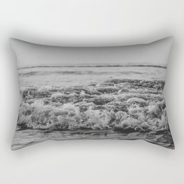 Black and White Pacific Ocean Waves Rectangular Pillow