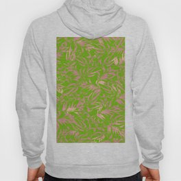 Dusty rose leaves on grass pattern Hoody