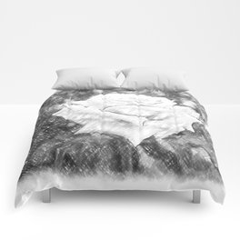 Pink Roses in Anzures 6 Charcoal Comforters