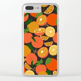 Oranges on black Clear iPhone Case