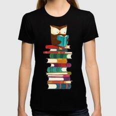 Owl Reading Rainbow Black MEDIUM Womens Fitted Tee
