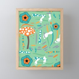Playful mushroom and flowers Framed Mini Art Print