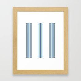Farmhouse Blue Ticking Stripes on White Framed Art Print