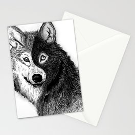 Ying Yang Wolf Stationery Cards