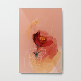 Hand Holding Flower Metal Print