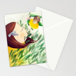A girl with a bird, nature lover Stationery Cards