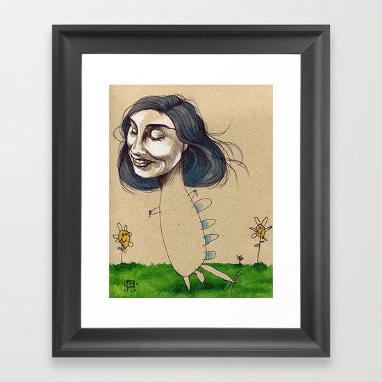 DINOSAUR GIRL Framed Art Print