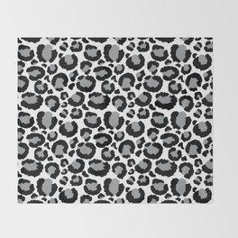 White Black & Light Gray Leopard Print Throw Blanket