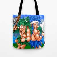 agents of shield Tote Bags featuring Prehistoric Agents by VGPrints
