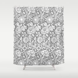 "William Morris Floral Pattern | ""Pink and Rose"" in Grey and White Shower Curtain"