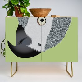 African Grey Parrot [ON MOSS GREEN] Credenza
