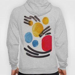 Mid Century Modern Abstract Juvenile childrens Fun Art Primary Colors Watercolor Minimalist Pop Art Hoody