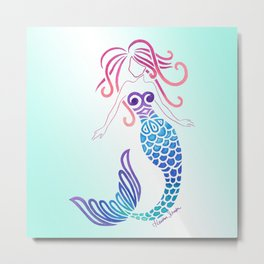 Tribal Mermaid with Ombre Turquoise Background Metal Print