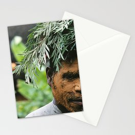 Papua New Guinea Villager At Sing Sing Celebration Stationery Cards
