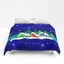 Christmas, Home for the Holidays Midnight Blue, Holiday Fantasy Collection Comforters