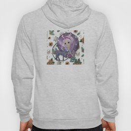 Merry Christmas or Happy new year / Young girl with long purple hair with a rim for hair with antler Hoody