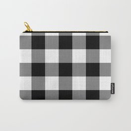 Black and White Buffalo Plaid Carry-All Pouch