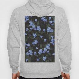 Blue Dark Floral Garden: Forget-me-nots Hoody