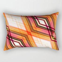 Blockchain - Red Orange Futuristic Geometric Abstract Rectangular Pillow