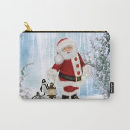 Santa Claus with funny penguin Carry-All Pouch