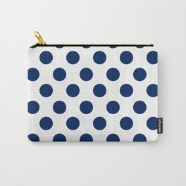 Navy and White Medium Polka Dots Carry-All Pouch