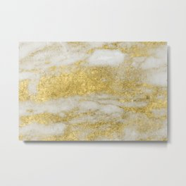 Marble - Glittery Gold Marble and White Pattern Metal Print