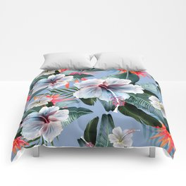 Hawaii, tropical hibiscus vintage style blue dream palm leaves Comforters