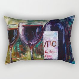 Aged Wine oil painting with palette knife Rectangular Pillow