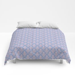 Damask Pattern | Serenity and Rose Quartz | Pantone Colors of the Year 2016 Comforters