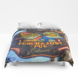 The Punch And Judy Pub Sign Comforters