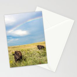 Rainbows and Bison - Buffalo on the Tallgrass Prairies of Oklahoma Stationery Cards