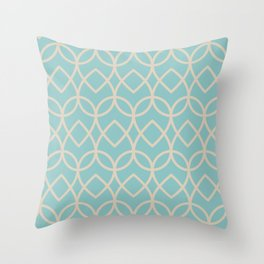 Pastel Teal and Beige Teardrop Line Pattern 2021 Color of the Year Aqua Fiesta and Sourdough Throw Pillow