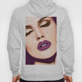 Love And Passion Portrait Of A Woman With Words Purple Hoody