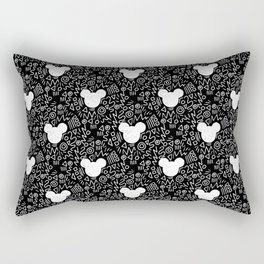 Magic Doodle - happy, magic, kingdom, neverland, wonderland, black and white Rectangular Pillow