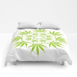 Cannabis Leaf Circle (White) Comforters